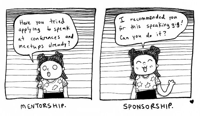 2-panel cartoon describing the difference between mentorship and sponsorship. Mentorship=Have you tried applying to speak at conferences and meetups already? Sponsorship=I recommended you for this speaking gig! Can you do it?